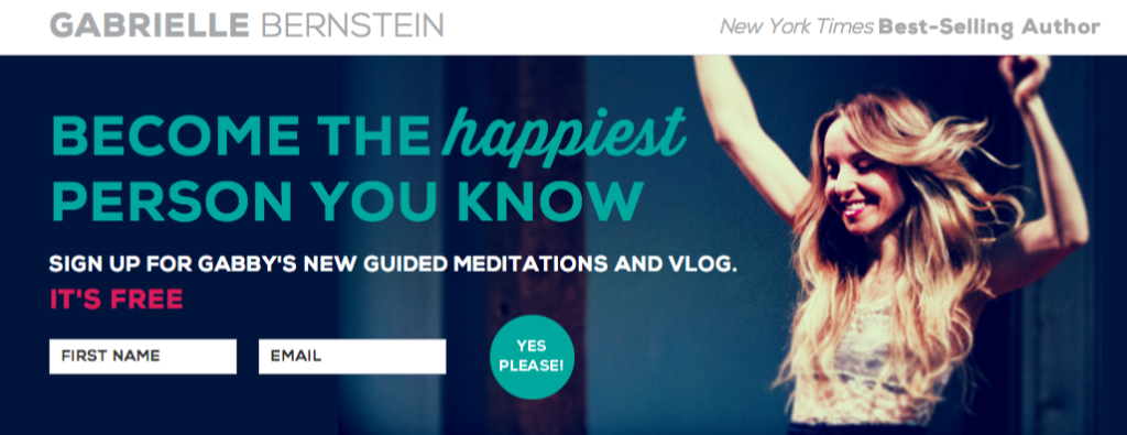 Gabbyb.tv offers free guided meditations for new signups which is a perfect fit for her ideal reader (and customer.)