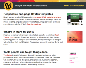 Web Designer Depot is an example of a traditional email newsletter.
