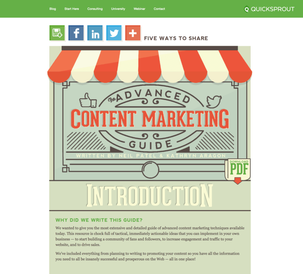 quicksprout example digital marketing funnel